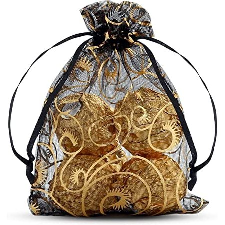 Adult Birthday Party Favors - Black & Gold Organza Pouches
