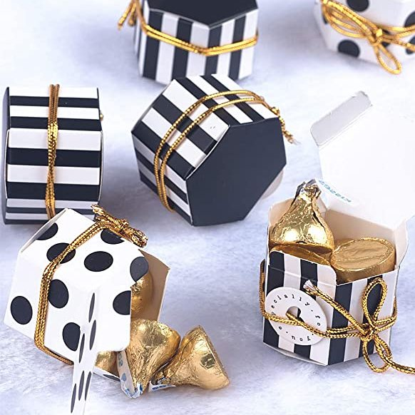 Adult Birthday Party Favors - Black & White Favor Boxes