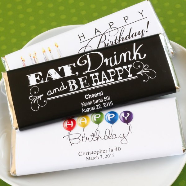 Adult Birthday Party Favors - Personalized Hershey's Chocolate Bar Favors