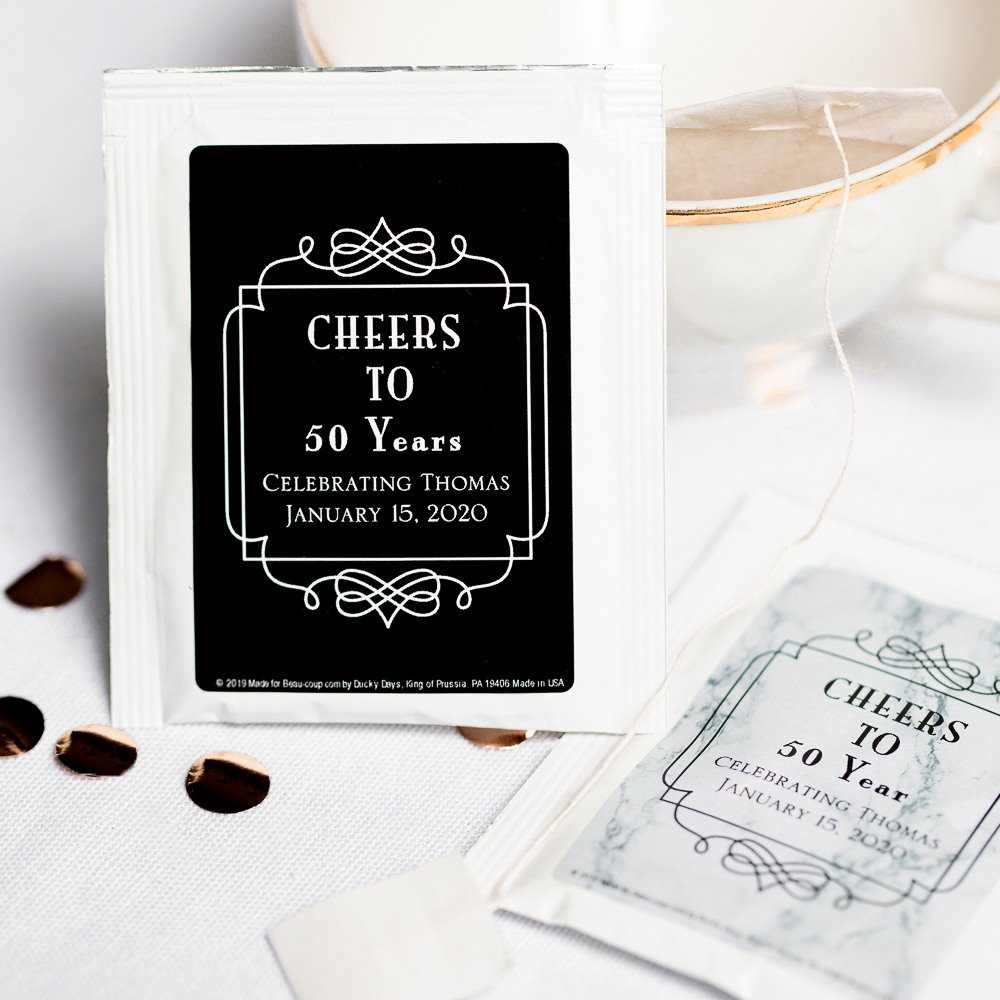 Adult Birthday Party Favors - Personalized Tea Bag Favors