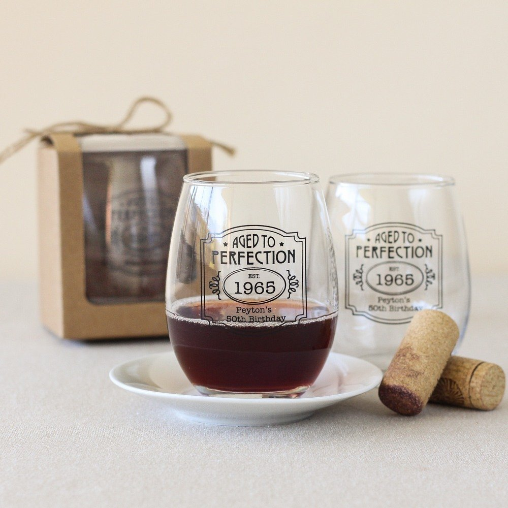 Adult Birthday Party Favors - Personalized Stemless WIne Glass Favors