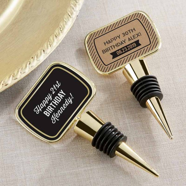 Adult Birthday Party Favors - Personalized Gold Botter Stopper Favors