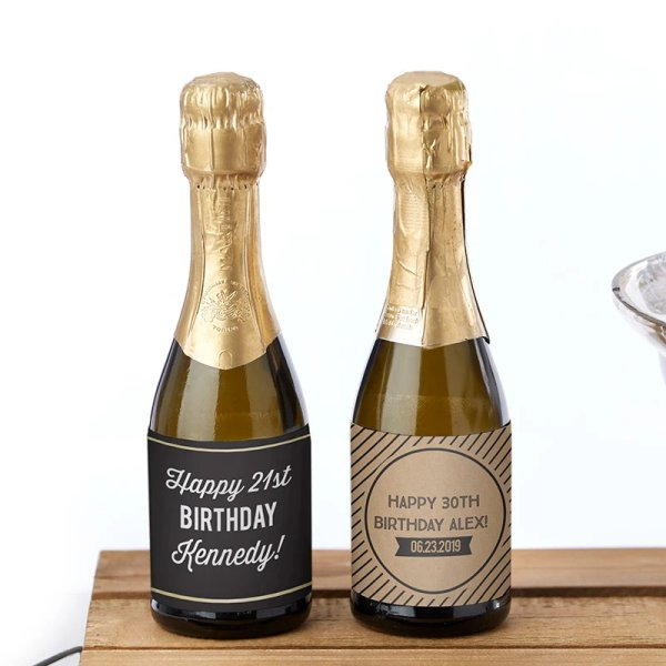 Adult Birthday Party Favors - Personalized Mini Wine Bottle Labels