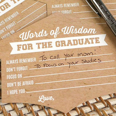 Graduation Party and Gift Guide - Graduation Cap Shaped Advise Cards
