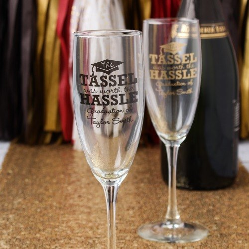 Graduation Party and Gift Guide - Personalized Graduation Party Champagne Flute Favors