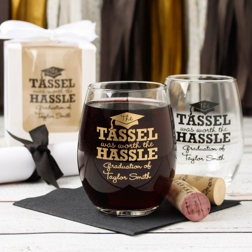 Graduation Party and Gift Guide - Personalized Graduation Party Stemless Wine Glass