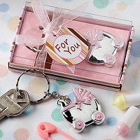Baby Girl Shower Party Favours - Baby Carriage Key Chain Favours