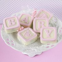Baby Girl Shower Party Favours - Baby Blocks White Chocolate Covered Oreo Cookies