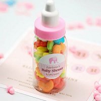 Baby Girl Shower Party Favours - Mini Plastic Baby Bottle Favour