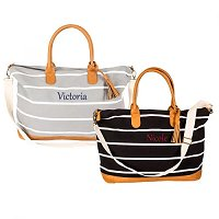 Mother's Day Gift Guide - Personalized Striped Canvas Weekender