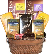 Christmas Gift Baskets - Godiva, Lindt and Ghirardelli Delight